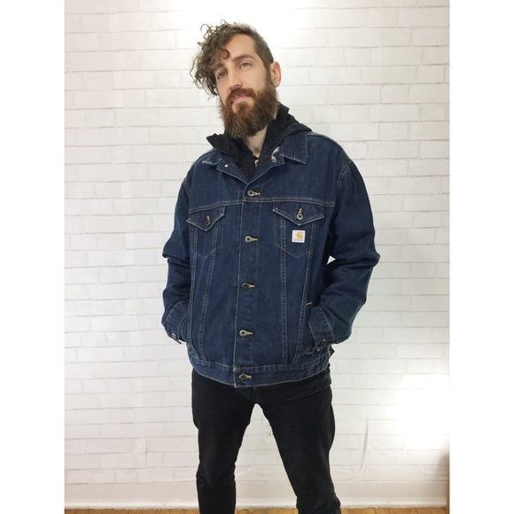1560559117 Carhartt Jackets & Coats | Medium Wash Denim Jacket Xl Jean Oversize ...